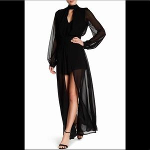 Dee Elly Long Sleeve Romper Sheer Maxi Dress